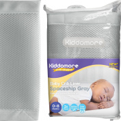 Modern Spaceship Grey Baby Mesh Crib Liner for All Cribs - Breathable Airflow Rail Cover and Bumper - Best for Protecting Your Baby From Getting Arms and Legs Stuck