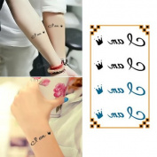 Oottati Small Cute Temporary Tattoo Wrist Crown Words Quote I Am King