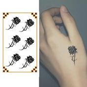Oottati Small Cute Temporary Tattoo Hand Black Roses