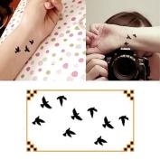 Oottati Small Cute Temporary Tattoo Black Bird