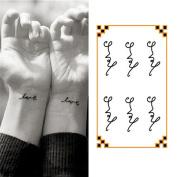 Oottati Small Cute Temporary Tattoo Wrist Handwriting Love