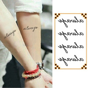 Oottati Small Cute Temporary Tattoo Words Quote Always Arm
