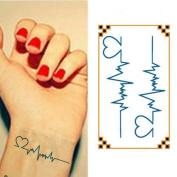 Oottati Small Cute Temporary Tattoo Heartbeat Wrist
