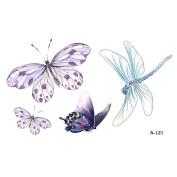 WYUEN 5 Sheets Waterproof Butterfly Temporary Tattoo Dragonfly Fake Tattoo Sticker For Women Men Hand Body Art 9.8X6cm