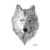 WYUEN 5 Sheets Waterproof Temporary Tattoo Wolf Tattoo Sticker For Women Men Body Art 9.8X6cm