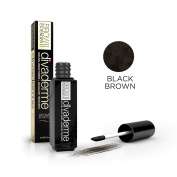 Divaderme Brow Extender II - Black Glass Bottle Edition - 100% Natural Semi Permanent - Eyebrow Fibres + Enhancer Treatment - Made in USA