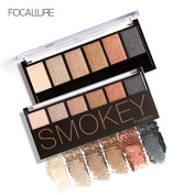 Bingirl 6 Earth Colours Lasting Retro Smoky Eyeshadow Palette Cosmetic Makeup Kit with Mirror and Double End Brush - 55g
