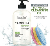Camellia Botanical Deep Cleansing Oil by Buena Skin, 240ml — 100% Natural Eye Makeup Remover, Deep Cleanser, Moisturising Body/Bath/Massage Oil | Lightweight, No Residue | 3 Sponges Included