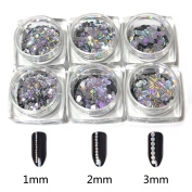 NMKL 6 Bottles Round Holographic Nail Glitter Flakes Sequins Paillette Mixed Size Nail Art Decoration