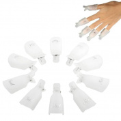 Iuhan 10pc Professional Plastic Acrylic Nail Art Soak Off Cap Clip Uv Gel Polish Remover Wrap Cleaner Clip Cap Tool