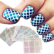 Iuhan 24 Sheets New Nail Hollow Irregular Grid Stencil Reusable Manicure Stickers for Nail Art Design