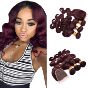 FASHIJIA 99J Red Lace Closure With Bundles 7A Mink Brazilian Body Wave With Closure 4 Bundles Brazilian Virgin Hair With Closure Deals
