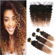 Tony Beauty Hair Deep Wave 1B/4/27 Ombre Brazilian Virgin Hair Wefts With Frontal 4Pcs Lot Black Brown Honey Blonde Three Tone Ombre Full Lace 13x4 Frontal Closure With 3 Bundles