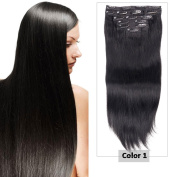 Clip in Hair Extensions for Black Women Double Weft Thick to Ends Jet Black(#1) Grade 8A