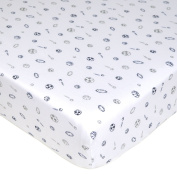 American Baby Company Cotton Jersey Knit Fitted Sheet, Navy/Grey Sports, Crib Size