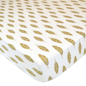 American Baby Company Cotton Percale Fitted Sheet, Sparkle Gold Leaves, Crib Size
