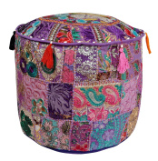 Indian Embroidered Patchwork Design Cotton Ottoman Cover 18 X 46cm X 36cm