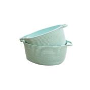 2017 New Design Green Cotton Rope Storage Basket Hamper Nursery Bin with Handles