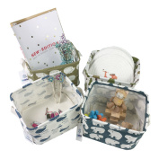 4 Pack Portable Canvas Storage Bins Baskets Organisers for Baby Toys,Makeup,Books