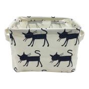 Small Foldable Canvas Storage Basket with Handles, Cotton Linen Storage Bin Organiser for Nursery Kids Shelves & Desks