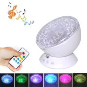 Ocean Wave Projector for Baby with 12 LEDs & 7 Colours Night Light Built-in Mini Music Player for Living Room and Bedroom