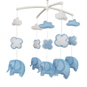 Baby Crib Toy With Arm, Musical Mobile, [Blue Elephant] Crib Decor Toy