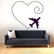 Wall Vinyl Sticker Decals Mural Room Design Pattern Plane Sky Pilot Heart Love Travel mi1129