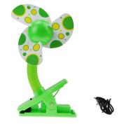 BXT USB/Battery Powered Baby Infant Toddler Safety Clip-On Mini Stroller Fan for Strollers Baby Cots Playpens Buggy Pram - Green