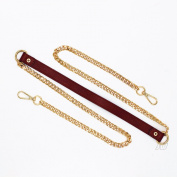 Selling Wonderful 140cm Handbag Chain Accessories Purse Straps Shoulder Cross Body Replacement Straps - Gold Iron Flat Chain, Brown PU Leather Strap, with 2pcs Metal Buckles