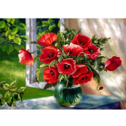 Diamond Cross Stitch 5D Diamond Embroidery Red Flower Vase Home Decor DIY Diamond Painting Flower Mosaic Picture 40x30cm