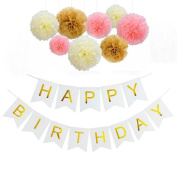 Sopeace White and Gold Happy Birthday Banner with Tissue Paper Pom Poms for Party Decorations