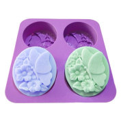 X-Haibei Flower Butterfly Oval Bath Soap Silicone Mould Cold Process Making Supplies