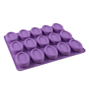 15-Cavity Oval Shaped Premium Silicone Soap Bar Mould Handmade Cake Moulds