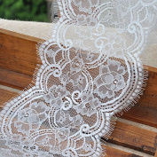 """3 Yards of 6"""" Width Eyelash Floral Embroidery White Lace Fabric"""