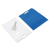 100Pcs 9x16cm (3.5x6.3 inch) Front Clear Back Blue Inside White Zip Lock Plastic Pack Bags Leak Proof Resealable Zipper Grip Seal Storage Pouch with Hang Hole