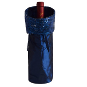 Gireshome Blue Glitter Wine Bottle Cover Bag for Table Decorations Gift Bag Christmas Wine Bottle Bag Christmas Hostess Decoration Wine Bottle Cover Christmas Gift