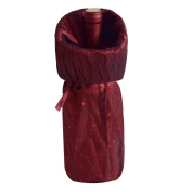 Gireshome Burgundy Glitter & Wrinkle Wine Bottle Cover Bag for Table Decorations Gift Bag Christmas Wine Bottle Bag Christmas Hostess Decoration Wine Bottle Cover Christmas Gift
