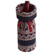 Gireshome Cable Knitted Deer Wine Bottle Cover Bag for Table Decorations Gift Bag Christmas Wine Bottle Bag Christmas Hostess Decoration Wine Bottle Cover Christmas Gift