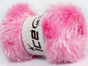 Lot of 4 x 100gr Skeins Ice Yarns EYELASH GLITZ Hand Knitting Yarn Light Pink
