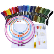 Caydo Full Range of Embroidery Starter Kit Cross Stitch Tool Kit Including 5 Pieces Plastic Embroidery Hoop, 36 Random Colour Threads, 30cm by 46cm 14 Count Classic Reserve Aida and Needles Set