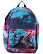 Blue and Pink Happy Daze Print Cotton Rucksack. Laptop divider. Light use backpack. Day, school, college bag.