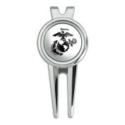 Marine Corps USMC Black on White Eagle Globe Anchor Officially Licenced Golf Divot Repair Tool and Ball Marker
