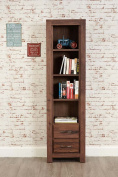 Mayan Walnut 2 Drawer Tall Bookcase with Satin Walnut Finish | Narrow Wooden Bookcase with Four shelves | Solid Wood 4 tier Storage Unit including Drawers