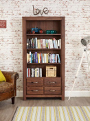 Mayan Walnut 4 Drawer Large Bookcase with Satin Walnut Finish | Wooden Bookcase with Four shelves | Solid Wood 4 tier Storage Unit including Drawers