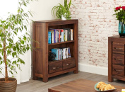Mayan Walnut 2 Drawer Small Bookcase with Satin Walnut Finish | Compact Wooden Bookcase with Four shelves | Solid Wood 4 tier Storage