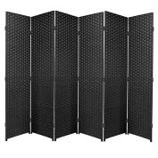 Black Folding Raffia Weave Wicker Privacy Panels / Room Dividers