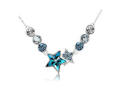 Lorina 18K Blue Lucky Stars with Swaroviski Crystal Element Pendant Necklace for Girls Women in 46cm Rolo Chain