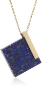 Marion Vidal Women's Chic Square Lapis Lazuil Vermeil Chain Necklace of Length 44cm