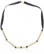 Marion Vidal Women's Gold Plated Black Sautoir Necklace of Length 94cm
