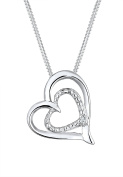 Diamore Ladies Necklace with Heart Pendant 925 Silver Rhodium Plated Diamond of 0.02 ct White Round Cut of 45 cm